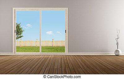 contemporary; empty; floor; home; interior; livingroom; modern; nobody; parquet; wall; window; wood; closed; sliding; vase; glass; minimalist; parquet; sky; grass; beige
