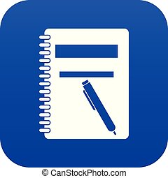 Closed spiral notebook and pen icon digital blue