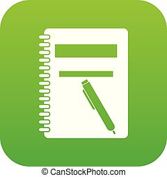Closed spiral notebook and pen icon digital green