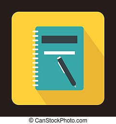 Closed spiral notebook and pen icon, flat style