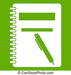Closed spiral notebook and pen icon green