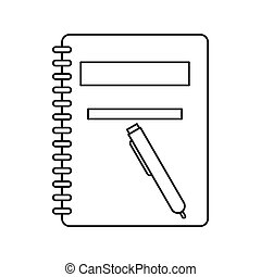 Closed spiral notebook and pen icon, outline style