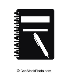 Closed spiral notebook and pen icon, simple style