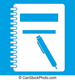 Closed spiral notebook and pen icon white