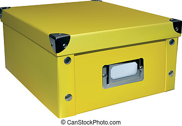 Yellow closed storage box isolated on white