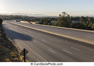 Closed Ten Lane Freeway Morning