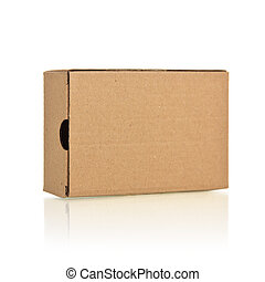 Closed the brown box on a white background