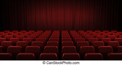 Closed theater red curtains and seats. 3d. - Closed theater...