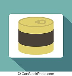 Closed tin can icon, flat style