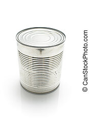 Closed tin can on white background.
