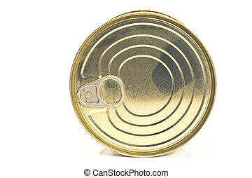 Closed tin can  on white