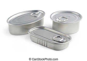 closed tin cans isolated on white background