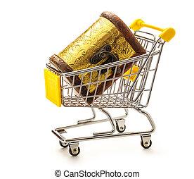 Closed treasure chest in pushcart