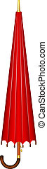 Closed umbrella in red and gold design with wooden handle on...