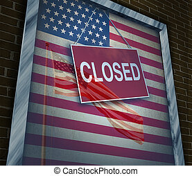 Closed United States of America concept as a metaphor for US government shutdown or failed American business and strict immigration policy as a store window sign with a reflection of a flag on the glass.