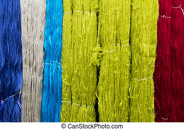 Closed up of colorful thread texture background