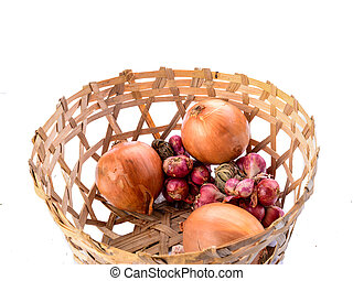 Closed up onion basket on white background
