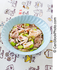 Southern Thai cuisine Stir fried stink bean with pork and ...