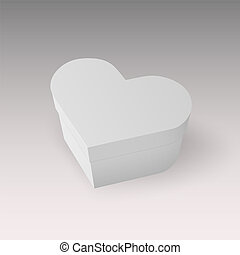 Closed white box in the shape of a heart, Realistic vector illustration