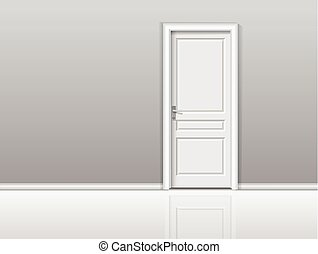 Closed white door in a white room