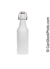 Closed     white  glass beer bottle