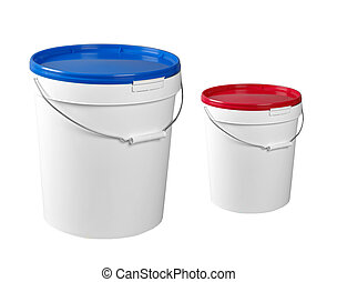 Closed white plastic containers