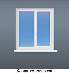 Closed, white plastic window.