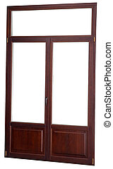 Closed window double glazed, dark mahogany color, isolated on wh