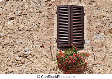 Closed window on a wall