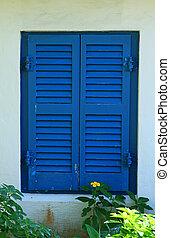 Closed Window Shutters - Blue