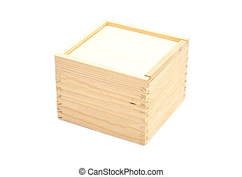 Closed wooden box isolated white