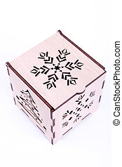 Closed wooden Christmas box isolate