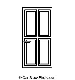 Closed wooden door icon, outline style