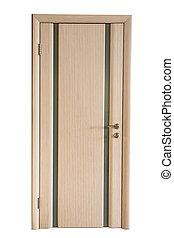 closed wooden door in doorway isolated on white