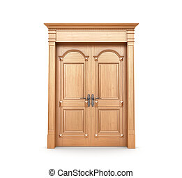 Closed wooden door isolated on a white. 3d illustration