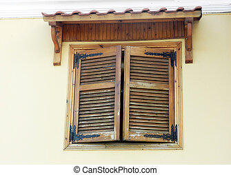 Closed wooden shutters