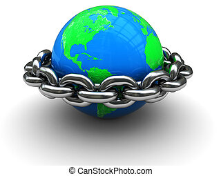 closed world - abstract 3d illustration of earth globe ...
