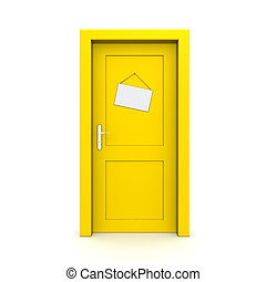 single yellow door closed with empty door sign dummy