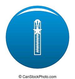 Closed zip icon blue