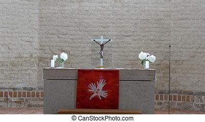 Closer look of the altar in the church in Estonia