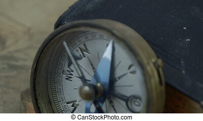 Closer look of the compass with the arrow on North