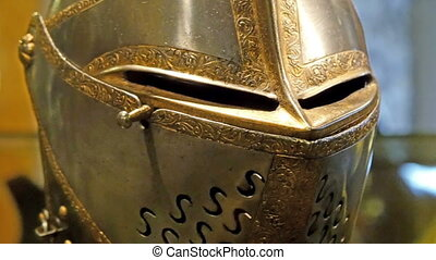 Closer look of the metal mask of the knight. It is used for...