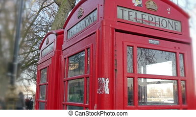 Closer look of the red telephone booth in London