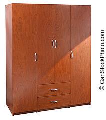 Brown closet over white.