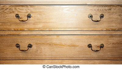 Closet handles - Bronze handles on retro wood closet