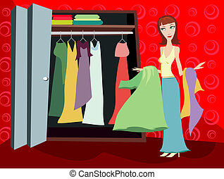 Closet of Clothes - Brunette - Woman looking through her...