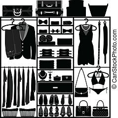 A set of man and woman clothing accessories in a closet.