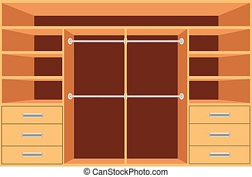 Closet, Wardrobe with shelves and drawers. Empty cupboard, Furniture interior design, Wardrobe room, vector illustration.