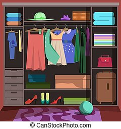 Closet with fashion clothes. Wardrobe room