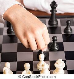 closeup, échecs, main